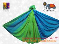Handloom Cotton Saree - 1255 - Cyan, Teal & Lime