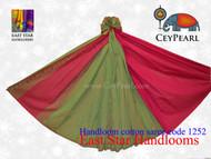 Handloom Cotton Saree - 1252 - Hot Pink, Lime & Vegas Gold