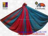 Handloom Cotton Saree - 1248 - Cyan & Burgundy