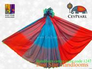 Handloom Cotton Saree - 1247 - Cyan & Orange