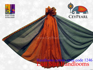 Handloom Cotton Saree - 1246 - Gray, Navy & Burnt Orange