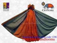 Handloom Cotton Saree - 1246 - Gray, Navy & Burnt Orange