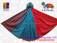 Handloom Cotton Saree - 1242 - Red, Cyan & Cardinal