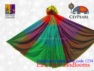 Handloom Cotton Saree - 1234 - Lime, Maroon, Cyan, Purple, Raven Gold & Orange