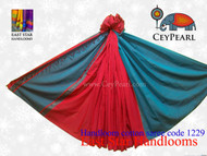 Handloom Cotton Saree - 1229 - Cyan & Red