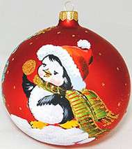 Large Unique Handmade Christmas Bauble glass ornament CHRISTMAS PENGUIN - red, 4.7 in (12 cm)