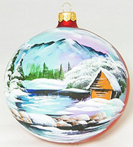 Large Unique Handmade Christmas Ball glass ornament WINTER SCENERY - red, diameter 4.7 in (12 cm)