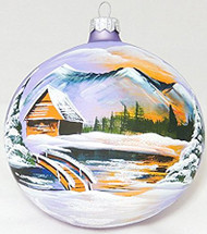 Large Unique Handmade Christmas Tree Ball painted glass ornament HUT, LAKE & MOUNTAINS - light violet, 4.7 in (12 cm)