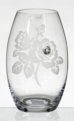 Elegant Thick Unique Hand Blown Glass Vase with Swarovski Crystal and Engraved Flower Decoration, 9.1 in