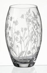 Elegant Hand Blown Glass Vase with Sandblasted Meadow Flowers, 24 cm