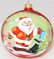 Large Unique Handmade Christmas Bauble painted glass ornament SANTA WITH GIFTS - red, diameter 12 cm