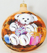 Large Unique Handmade Christmas Bauble painted glass ornament WHITE TEDDY BEAR WITH GIFTS - ecru, diameter 12 cm