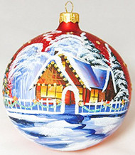Large Unique Handmade Christmas Bauble glass ornament WINTER SCENERY - red, diameter 12 cm