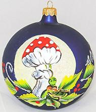 Large Unique Handmade Christmas Bauble glass ornament MUSHROOM & GRASSHOPPER - sapphire, diameter 12 cm