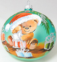 Large Unique Handmade Christmas Bauble painted glass ornament TEDDY BEAR WITH GIFTS - turquoise, diameter 12 cm