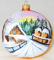 Large Unique Handmade Christmas Bauble glass ornament WINTER SCENERY - gold, diameter 12 cm