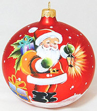 Large Unique Handmade Christmas Bauble glass ornament SANTA CLAUS - red, diameter 12 cm