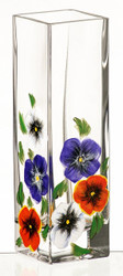 Thick Hand Blown Glass Vase with Hand Painted Flowers, 21 cm