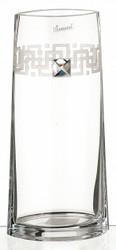 Tall Elegant Hand Blown Glass Vase with Swarovski Crystal, 27 cm