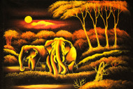 Elephant Couple In The Woods At Night