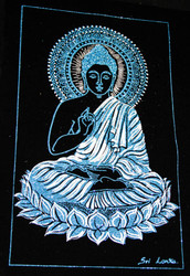 Gautama Buddha Dwelling on a Lotus - Blue/White Painting on Velvet