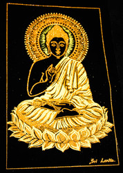 Gautama Buddha Dwelling on a Lotus - Gold Painting on Velvet