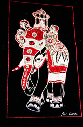 The King Elephant with the Casket of Sacred Tooth Relic - Velvet Art in Red & Silver