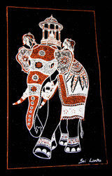 The King Elephant with the caskate of Sacred Tooth Relic - Velvet Art in Burnt Orange & Silver