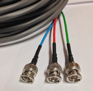 Plenum Rated 3 BNC to RCA Component Video Cable