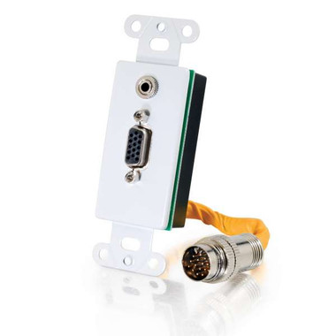 RapidRun® VGA (HD15) + 3.5mm Decora Style Wall Plate - White