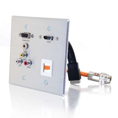 RapidRun Double Gang HD15 + 3.5mm + Composite Video + Stereo Audio + HDMI Pass Through Wall Plate