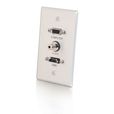 HDMI, VGA and 3.5mm Audio Pass Through Single Gang Wall Plate - Brushed Aluminum (41034)
