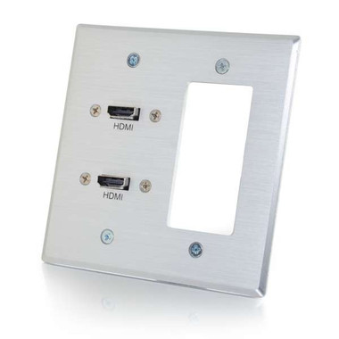 Dual HDMI Double Gang Wall Plate with One Decora Cutout - Aluminum (39709)