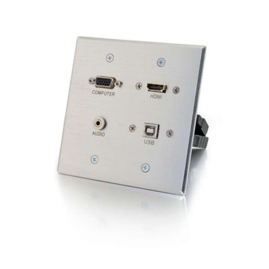 HDMI, VGA, 3.5mm and USB Double Gang Wall Plate - Aluminum (39703)