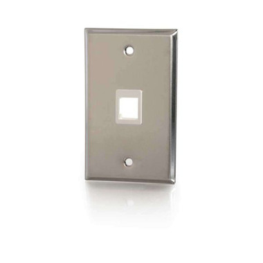 One Port Keystone Single Gang Wall Plate - Stainless Steel (37093)