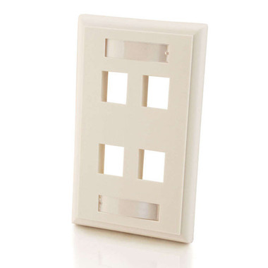 Four Port Keystone Single Gang Wall Plate - White (03413)