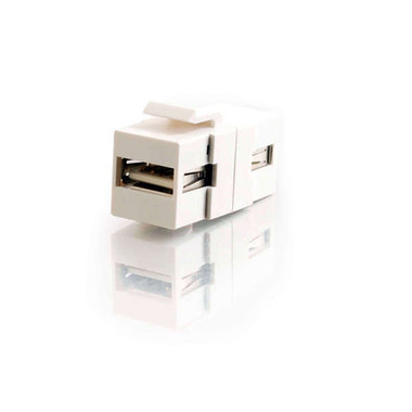 USB A/A Female Keystone Insert Module - White (28748)