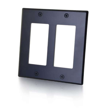 Decora Metal Double Gang Wall Plate - Black (41338)