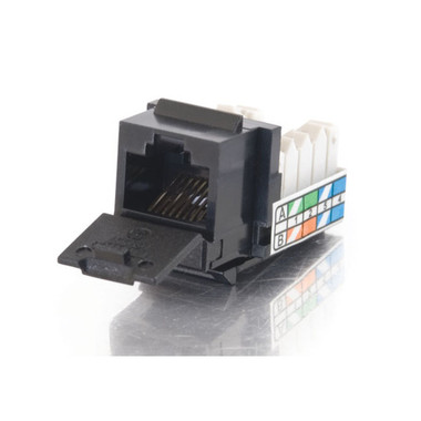 90° Cat5E RJ45 UTP Keystone Jack - Black