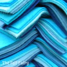 "Blues 9x4.5"" 6 Shades / 12 Sheets - Wool Blend Felt"