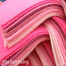 """Pinks 9x4.5"""" 6 Shades / 12 Sheets - Wool Blend Felt"""