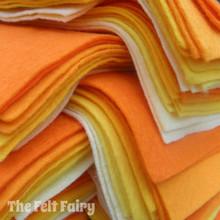 "Yellows 9x4.5"" 6 Shades / 12 Sheets - Wool Blend Felt"