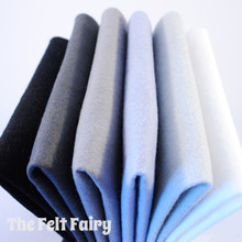 "Monochromes 9x4.5"" 6 Shades / 12 Sheets - Wool Blend Felt - Discontinued Pack - Limited Stock"