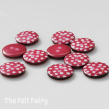 Red Wine Polka Dot Buttons - 12mm - 10 Buttons