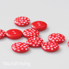 Red Polka Dot Buttons - 12mm - 10 Buttons