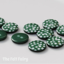 Green Polka Dot Buttons - 12mm - 10 Buttons