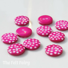 Hot Pink Polka Dot Buttons - 12mm - 10 Buttons