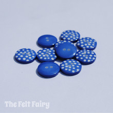 Royal Blue Polka Dot Buttons - 12mm - 10 Buttons