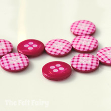 Hot Pink Gingham Buttons - 12mm - 10 Buttons