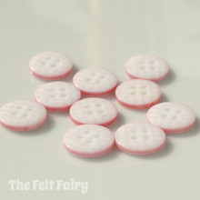 Pale Pink Gingham Buttons - 12mm - 10 Buttons